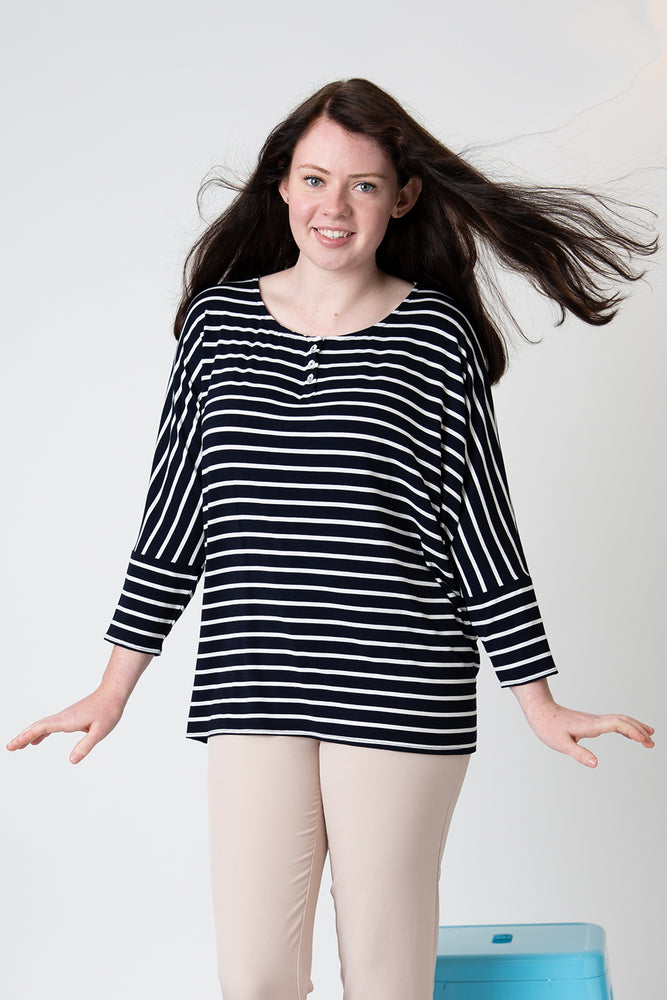 Load image into Gallery viewer, Henley tee black white stripe
