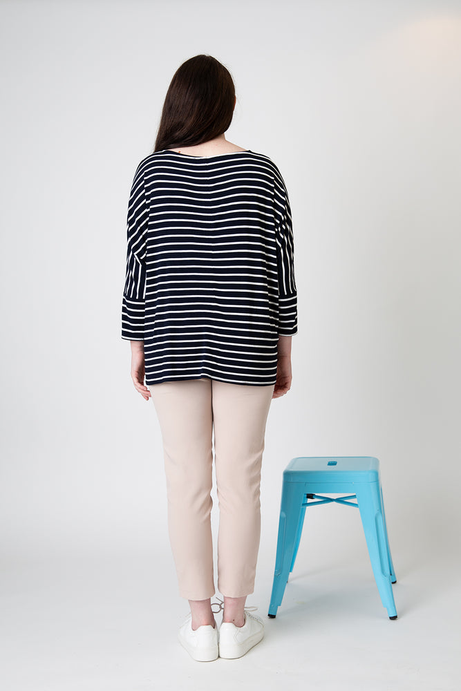 Load image into Gallery viewer, Henley tee navy white stripe