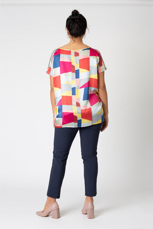 Silk keyhole Colette top - graphic