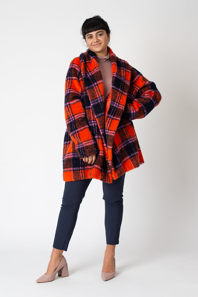 Carol coat - Orange Tartan