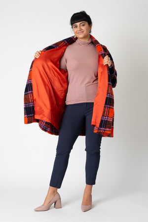 Carol coat orange tartan