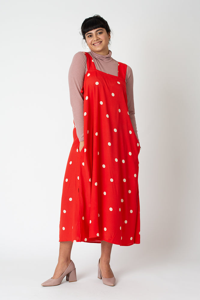 Lizzie dress - cherry red polka dot