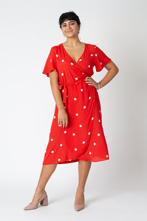 Amy wrap dress - Cherry red polka dot