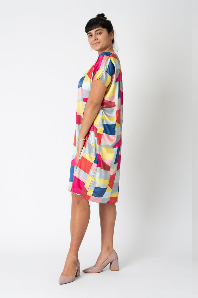 Silk Keyhole Colette dress - graphic