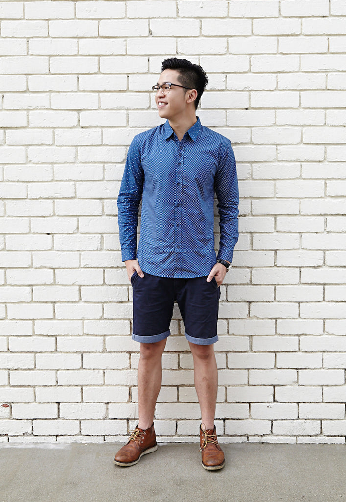 BIJOU BLUE SHIRT X WHITE DOTS; NARROW (BODY); WIDE (SLEEVE)