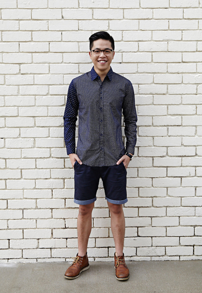 NAVY SHIRT X WHITE DOTS; NARROW (BODY); WIDE (SLEEVE)