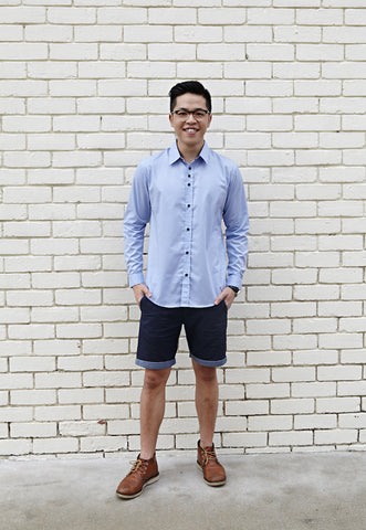 SKY BLUE SHIRT X CONTRAST DARK BLUE POLKA DOTS