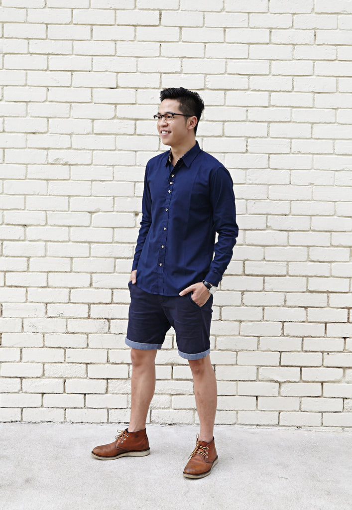 NAVY BLUE SHIRT X CONTRAST BLUE DEPTHS BOURBON PAISLEY PRINT