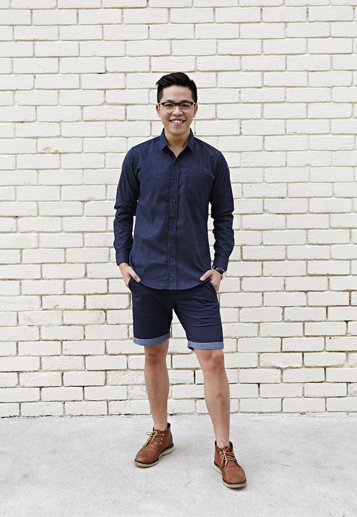 PINTUCK PIXELATED NAVY SHIRT X CONTRAST RED OCHRE
