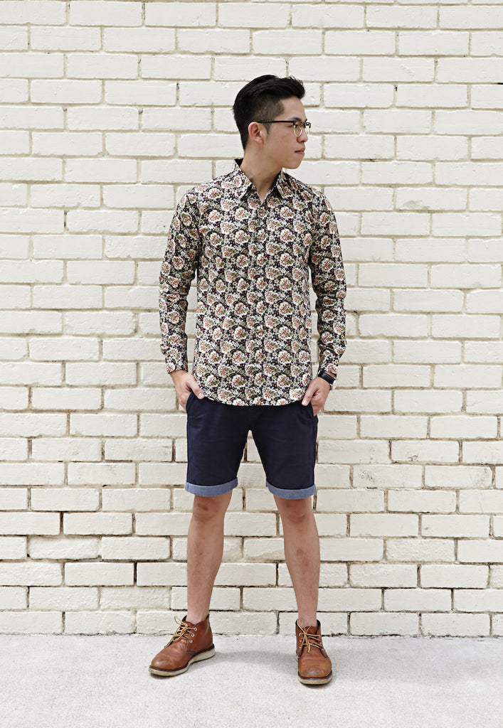 BLUE DEPTHS BOURBON PAISLEY PRINT SHIRT X CONTRAST NAVY BLUE