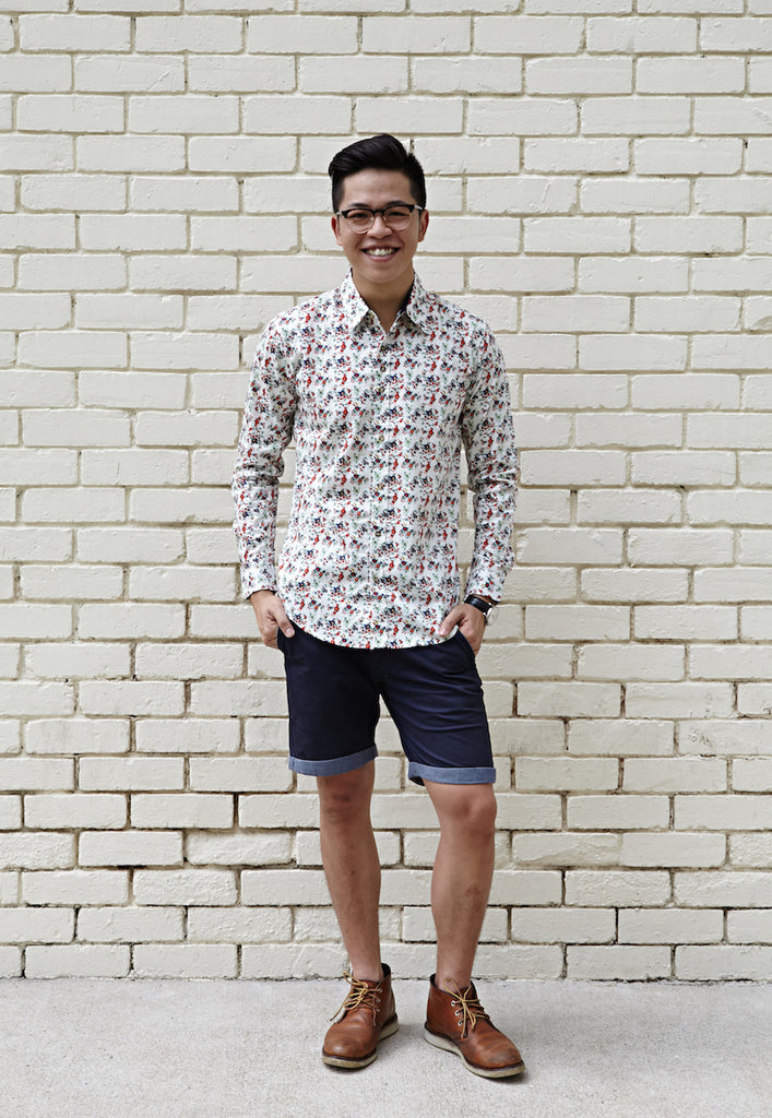 WHISPER WHITE COCKTAIL FLORAL PRINT SHIRT X CONTRAST NAVY BLUE
