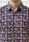 RED COCKTAIL FLORAL PRINT SHIRT X CONTRAST NAVY BLUE