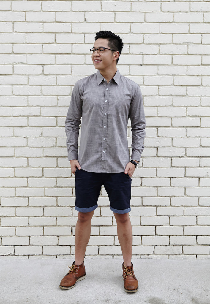 HOUND GREY SHIRT X NAVY DOTS; NARROW
