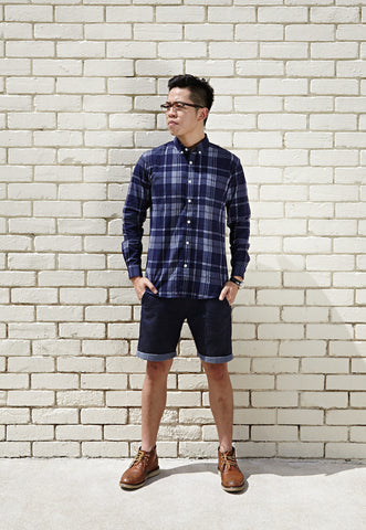 PLAID CHECK MATE SHIRT; TWILIGHT BLUE X CONTRAST RED OCHRE