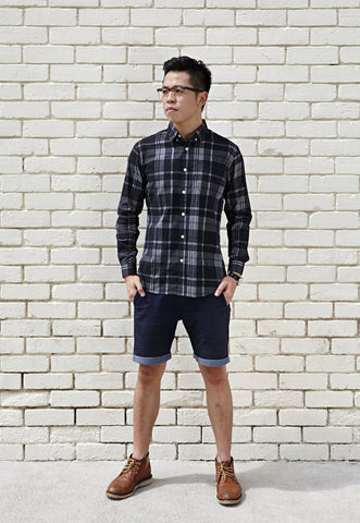 PLAID CHECK MATE SHIRT; TWILIGHT BLACK X CONTRAST RED OCHRE