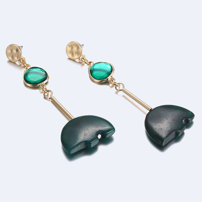 grande long mahny earrings jewelry hook stone green products