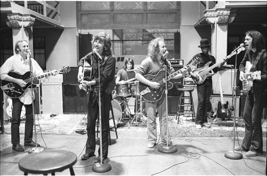 Crosby, Stills, Nash & Young Rehearsal 1970 by Henry Diltz