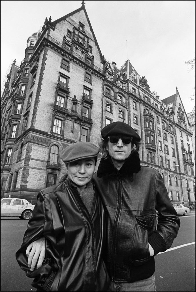 John Lennon & Yoko Ono at the Dakota NYC 1980 by Allan Tannenbaum