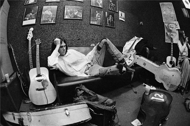 Neil Young with Susan Young, Philadelphia PA, 1970 by Joel Bernstein