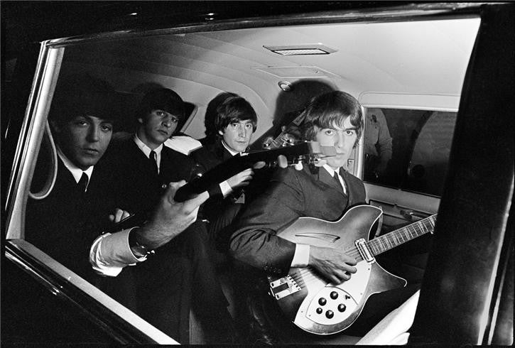 Beatles in Limo with Guitars by Curt Gunther