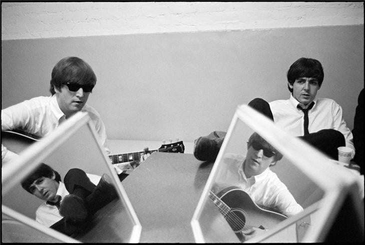 John Lennon & Paul McCartney with mirrors, 1964 by Curt Gunther