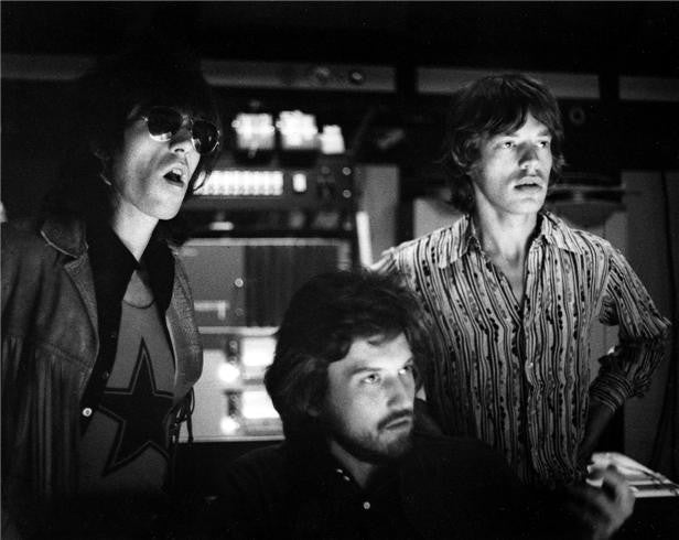 Keith Richards, producer Jimmy Miller and Mick Jagger, Los Angeles, CA, 1969 by Robert Altman