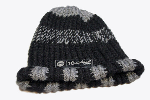 Knitted Beanie - Black & Grey