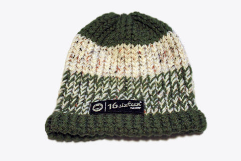 Knitted Beanie - Cream/Green