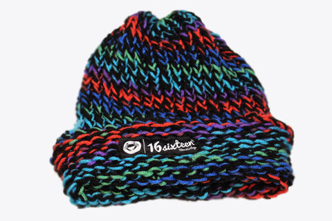 Cuffed Knitted Beanie - Multi-Color