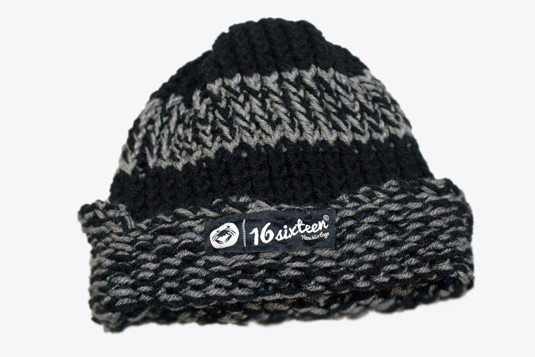 Cuffed Knitted Beanie - Black & Grey