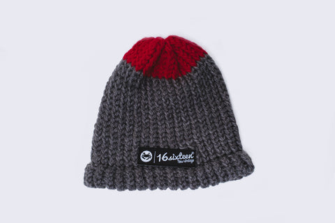 Knitted Beanie - Burgundy & Grey