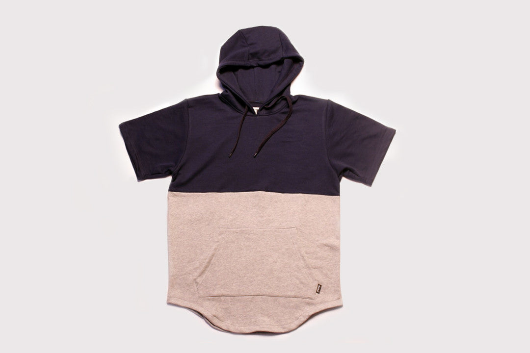 Short Sleeve French Terry Pullover Hoodie - Navy & Gray