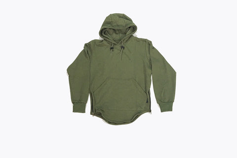 Long Sleeve French Terry Pullover Hoodie - Olive