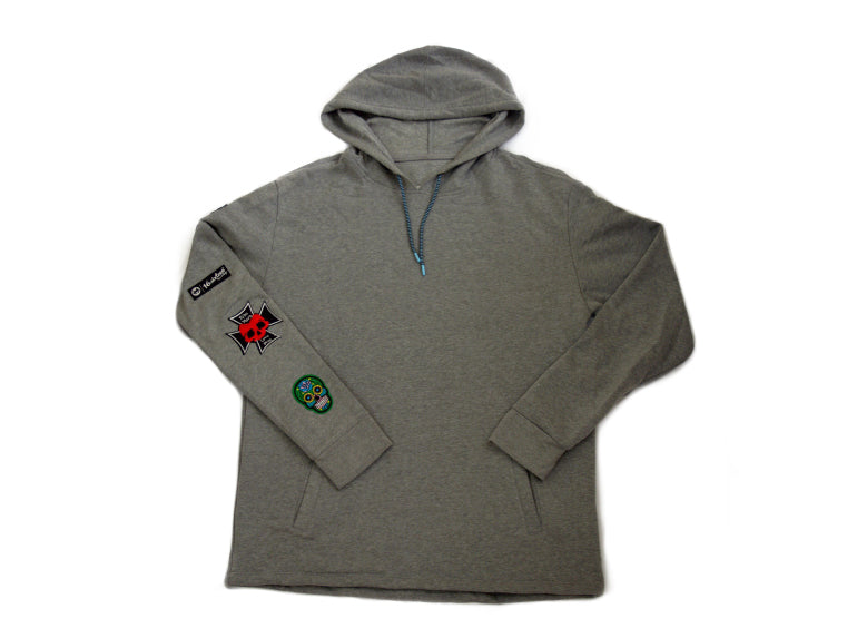 Patches Pullover Hoodie - Grey