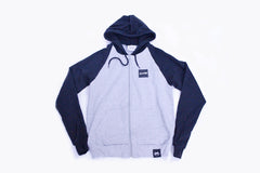 Raglan Zip-Up Hoodie - Navy, Gray
