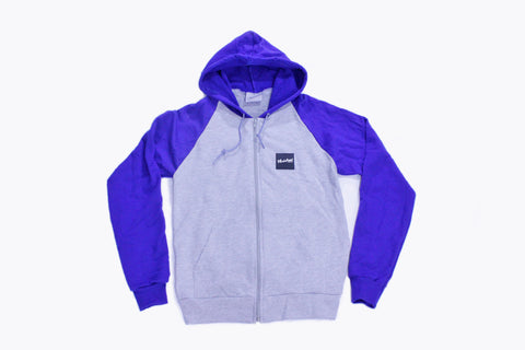 Raglan Zip-Up Hoodie - Royal, Gray