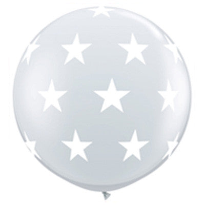 "36"" Round Star Balloon - White"