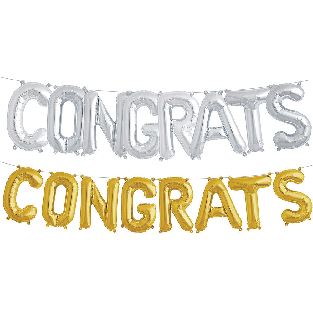 "CONGRATS 16"" Metallic Foil Letter Balloon Kit 