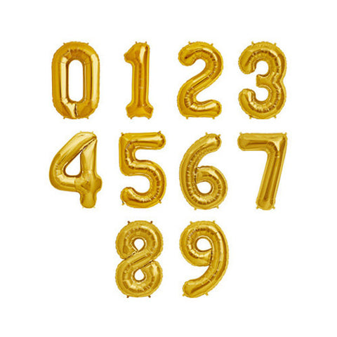 Metallic GOLD or SILVER Foil Number Balloons | 34""