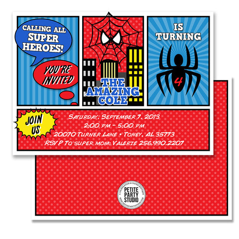Spiderman Inspired Birthday Party Invitation