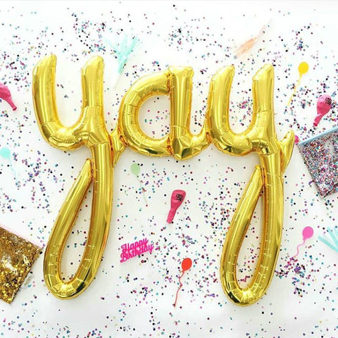 "Mylar ""Yay"" Script Balloon - Metallic Gold"