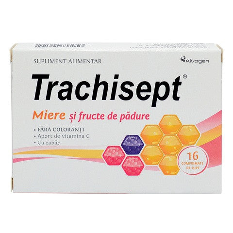 Trachisept miere si fructe padure, 16 comprimate, Labormed