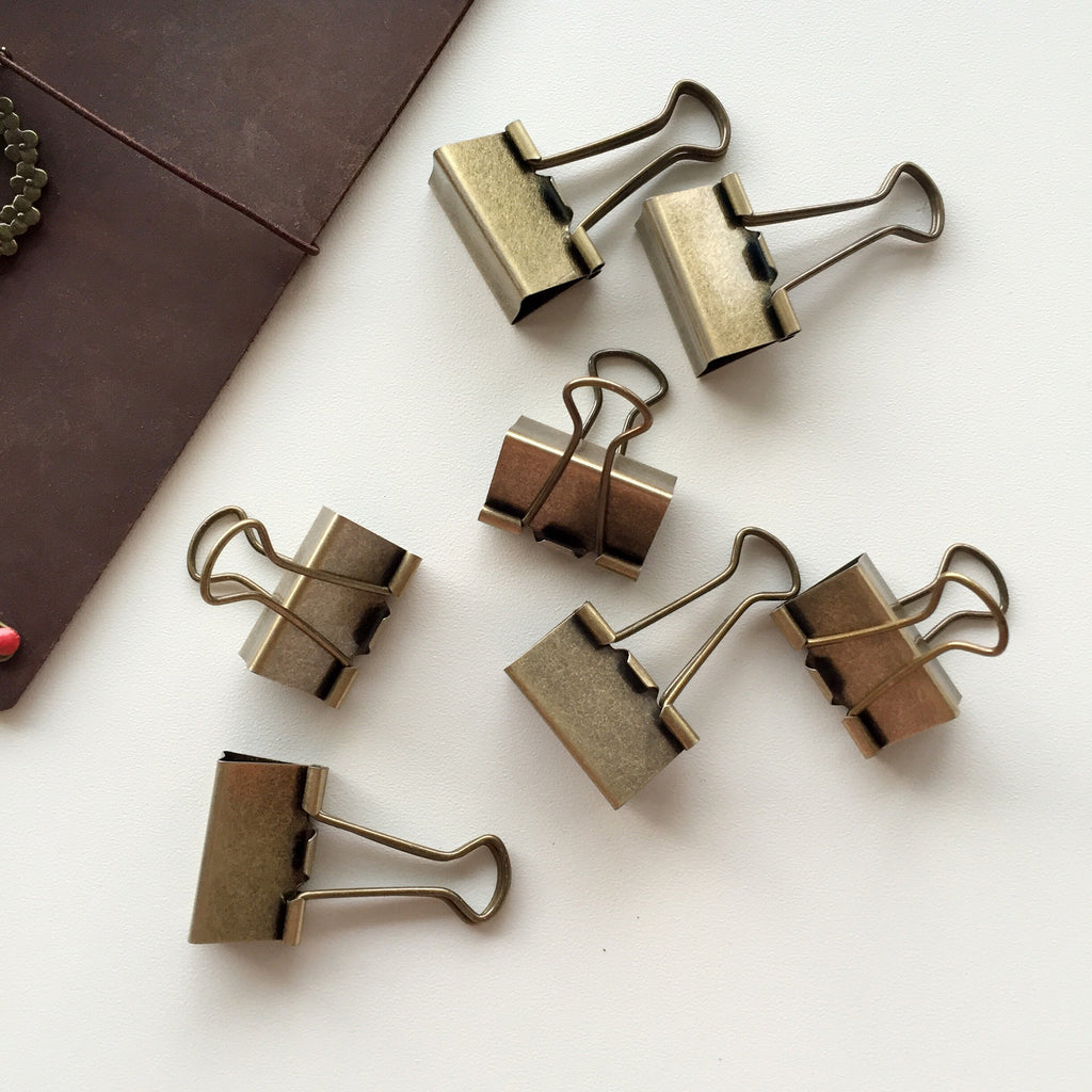 Binder Clips - Antique Gold