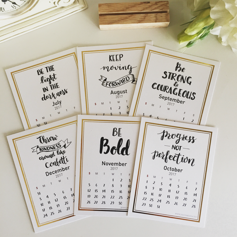 2017 Gold Foil Calendar with Handwritten Quotes