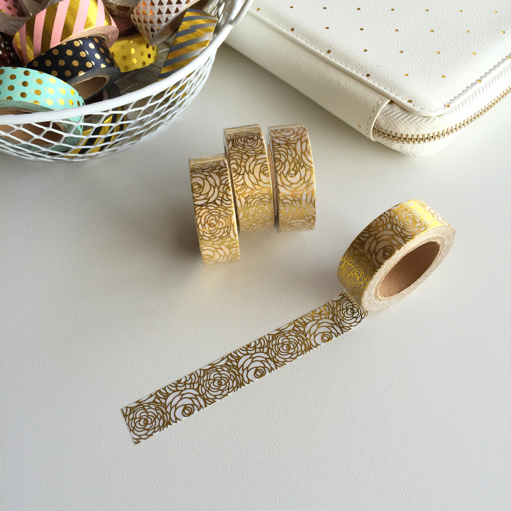 Washi Tape - Gold Foil Rosettes