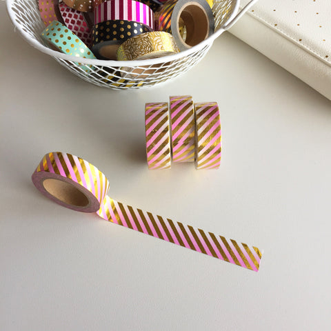Washi Tape -  Barbershop Stripes Gold & Pink