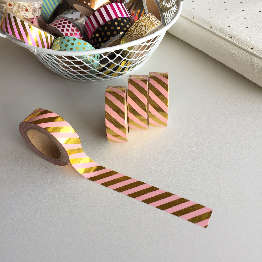 Washi Tape - Gold & Pink Stripes