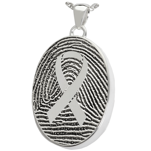 Awareness Ribbon Fingerprint Oval Cremation Pendant