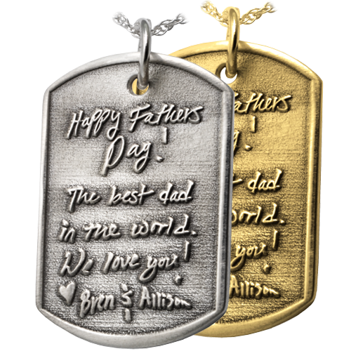 3D Engraved Dog Tag Cremation Pendant - No Ashes Chamber