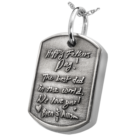 3D Engraved Dog Tag Cremation Pendant